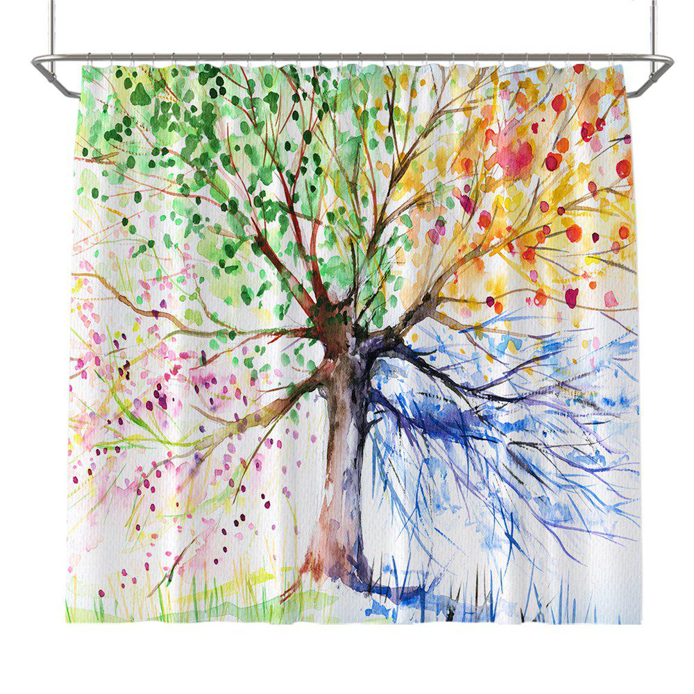 Trendy Colorful Tree Four Seasons Shower Curtain Extra Long Bath Decorations Bathroom Decor Sets with Hooks Print Polyester