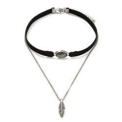 Leather Feather Leaf Choker Necklace Fashion Women Jewelry Accessories -