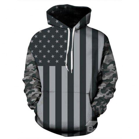 Outfit Fashion Long Sleeve Flag Pattern 3D Painted Hoodie