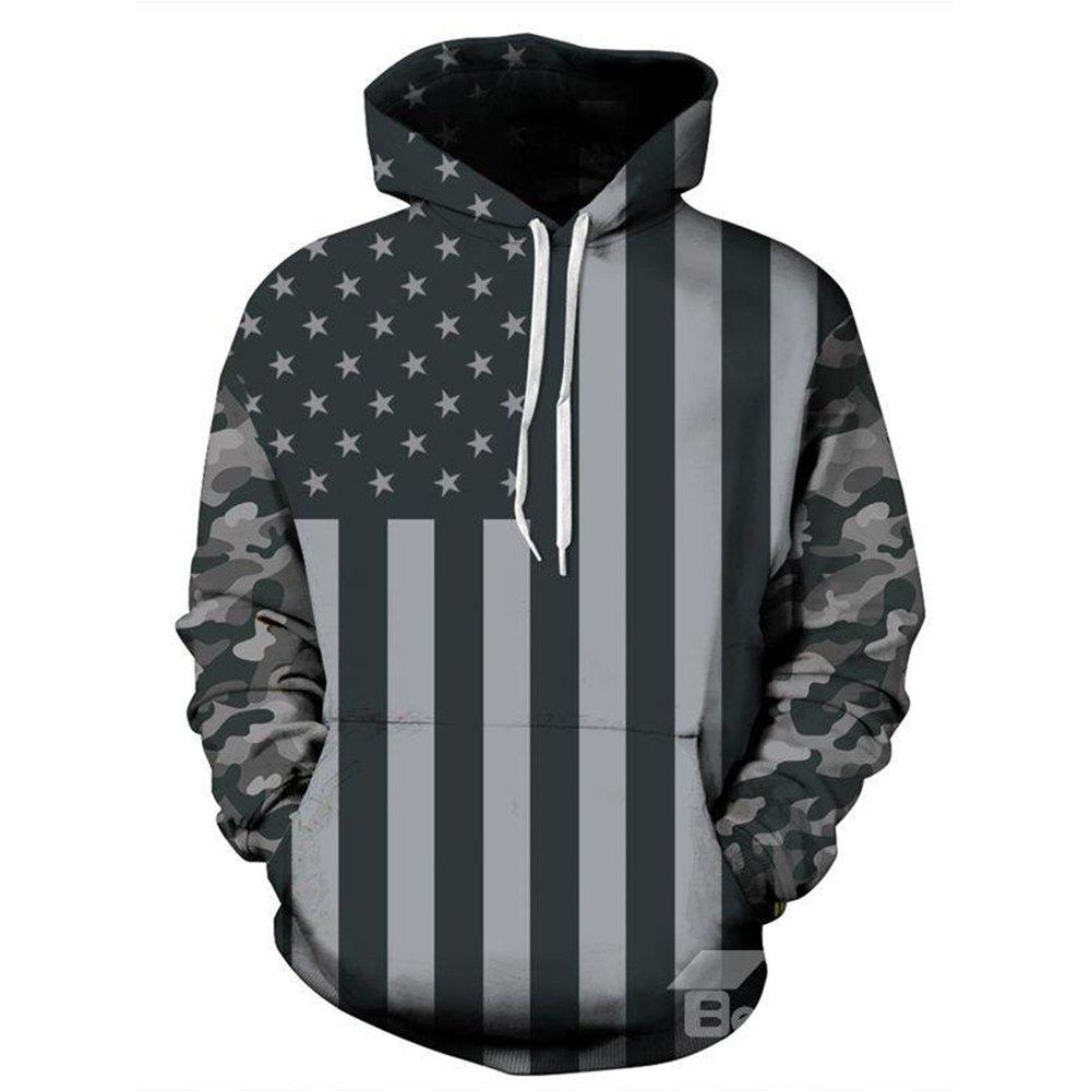 Store Fashion Long Sleeve Flag Pattern 3D Painted Hoodie