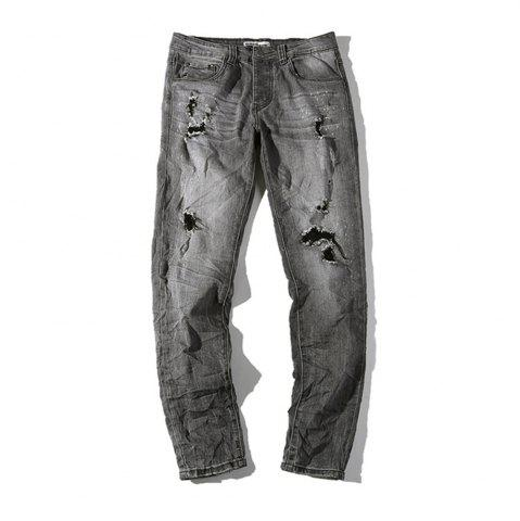 Discount Hole Straight Washed Jeans
