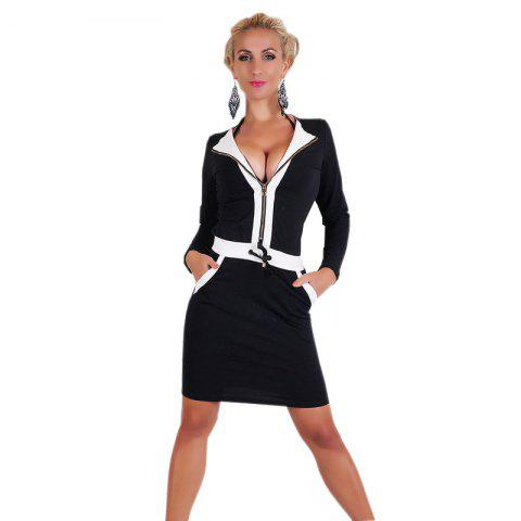 Discount Long Sleeve Black and White Patchwork Dress