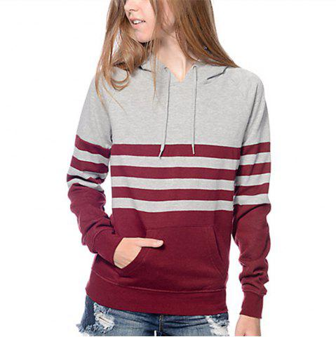 Shop Stamp Striped Hooded Long Sleeved Sweatshirts