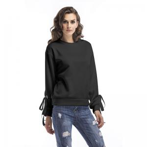 Spring Round Collar Cuffs Lace Up Loose Sweatshirt -