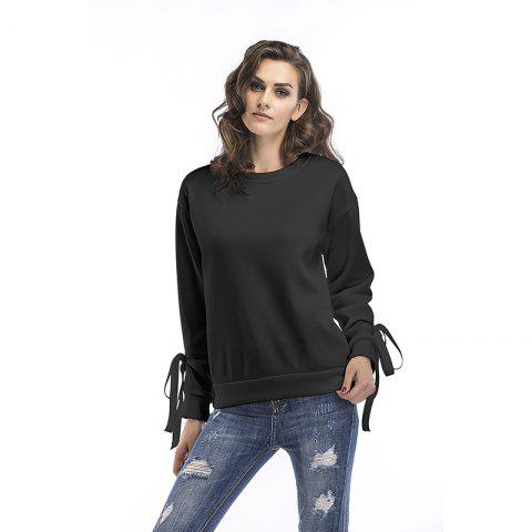 Fashion Spring Round Collar Cuffs Lace Up Loose Sweatshirt