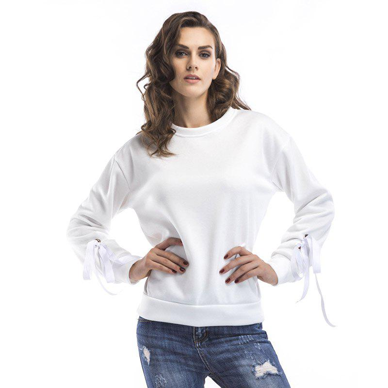 Poignets col rond printemps Lace Up Sweat lâche