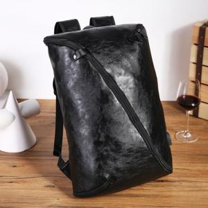 Men's Unique Fashion Leather Backpack Personality Rucksack Laptop Knapsack Travel Bag -