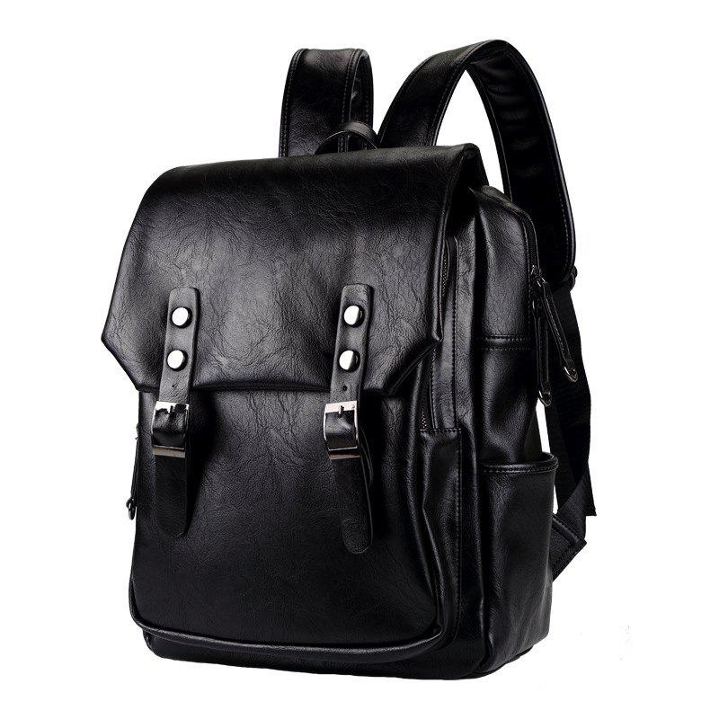 Unique Thick Leather Men's Backpack Korean Fashion Rucksack Outdoor Business Knapsack