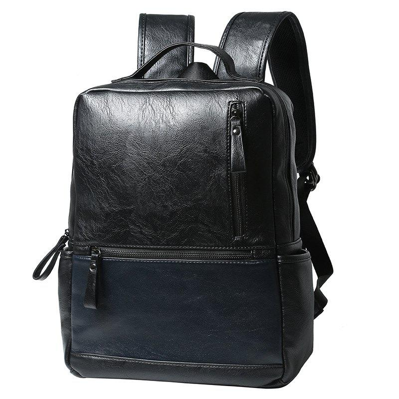 Outfit Brief Style Men's Contrast Color Fashion Backpack Laptop Travel Rucksack Leather Knapsack Bag