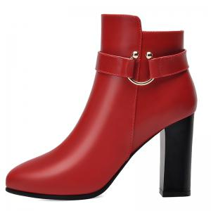 Pointed High Heel Plus Fleece and Short Boots -