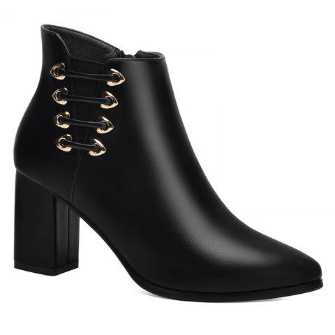 Unique Female Thick with Pointy Head High Heel Chelsea Ankle Boots