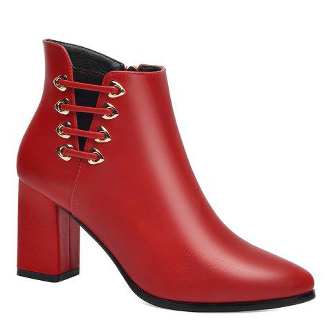 New Female Thick with Pointy Head High Heel Chelsea Ankle Boots