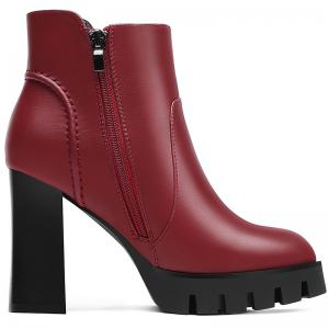 Round Head Thick and Waterproof Platform Ankle Boots -