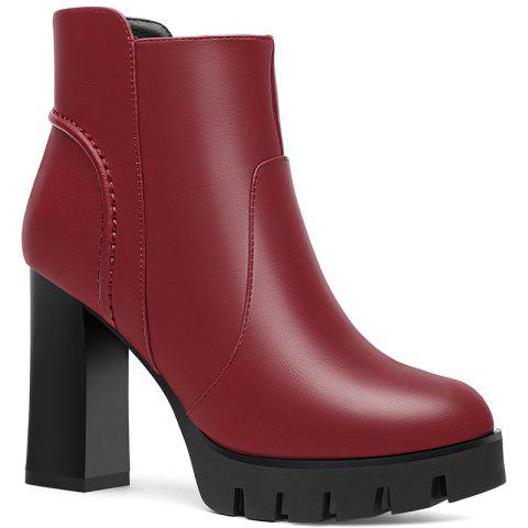 Unique Round Head Thick and Waterproof Platform Ankle Boots
