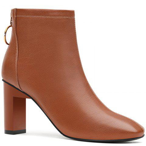 Unique High Heel Square and Short Tube Martin Boot
