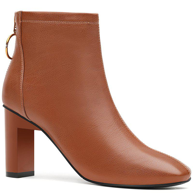 Unique High Heel Square and Short Tube Boot