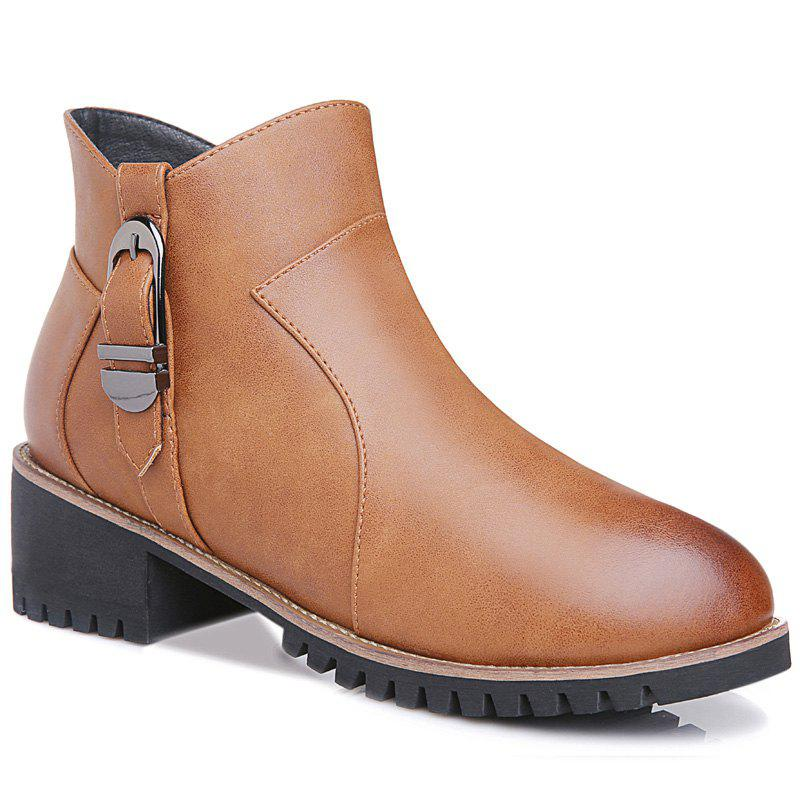 New Coarse and Stuffed Round Short Boots