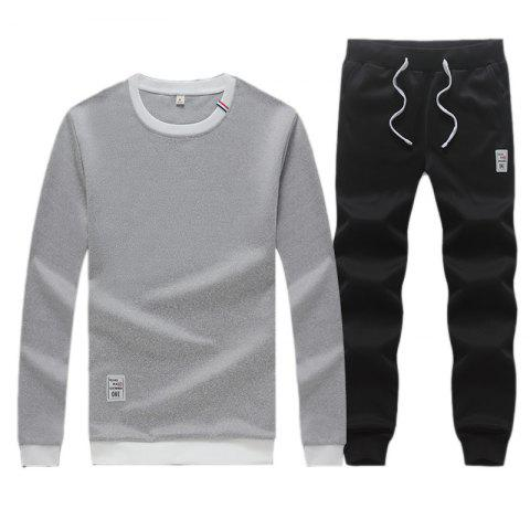 Online Men's Sweatshirt Set Long Sleeve O Neck Cotton Blends Pullover Set