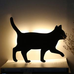 Optically Controlled Sound Control Walking Cat Night Light Shadow LED Projection Lamp -