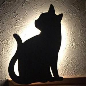 Optically Controlled Sound Control Cat Night Light Shadow LED Projection Lamp -