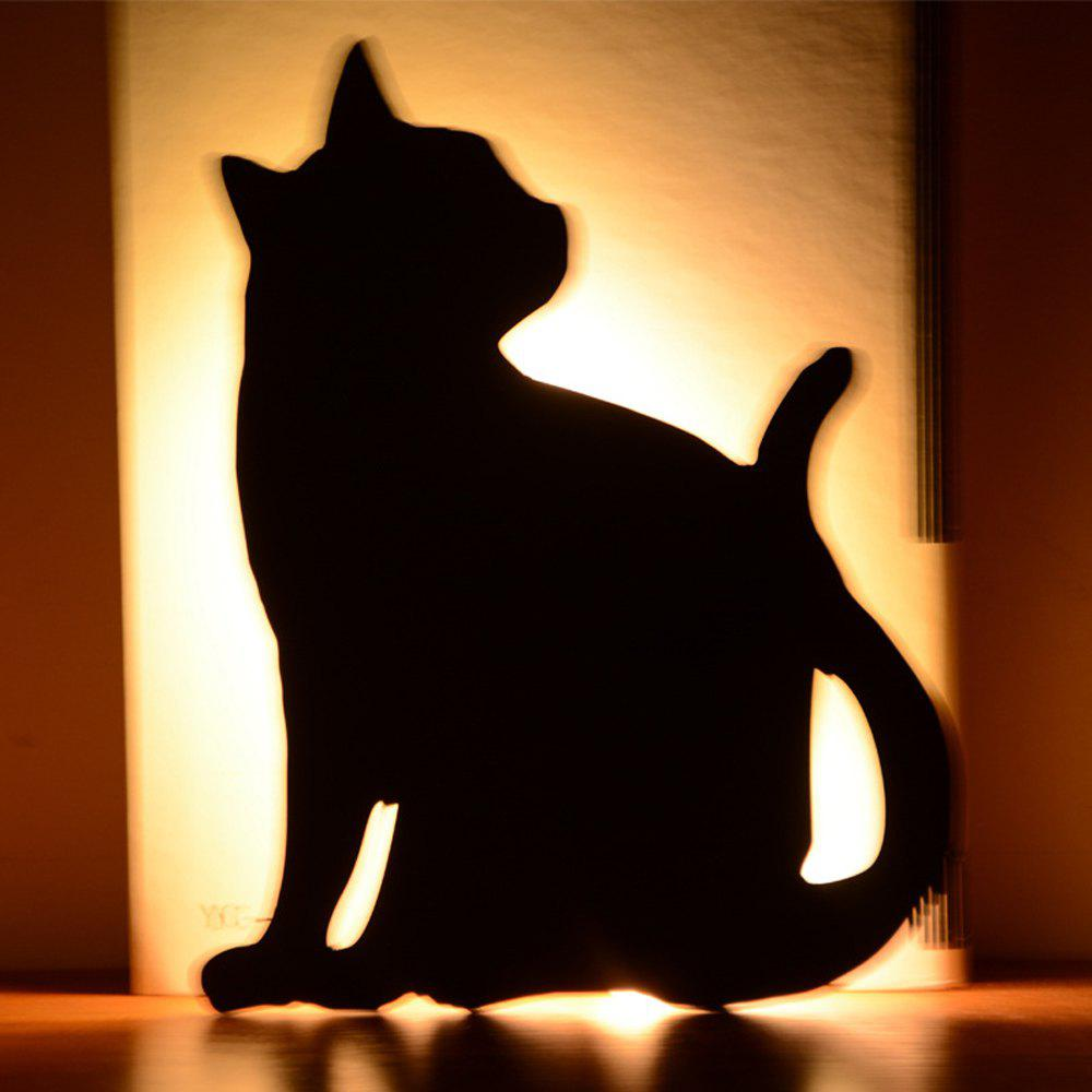 Chic Optically Controlled Sound Control Cat Night Light Shadow LED Projection Lamp