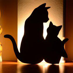 Optically Controlled Sound Control Mother Child Cat Night Light Shadow LED Projection Lamp -
