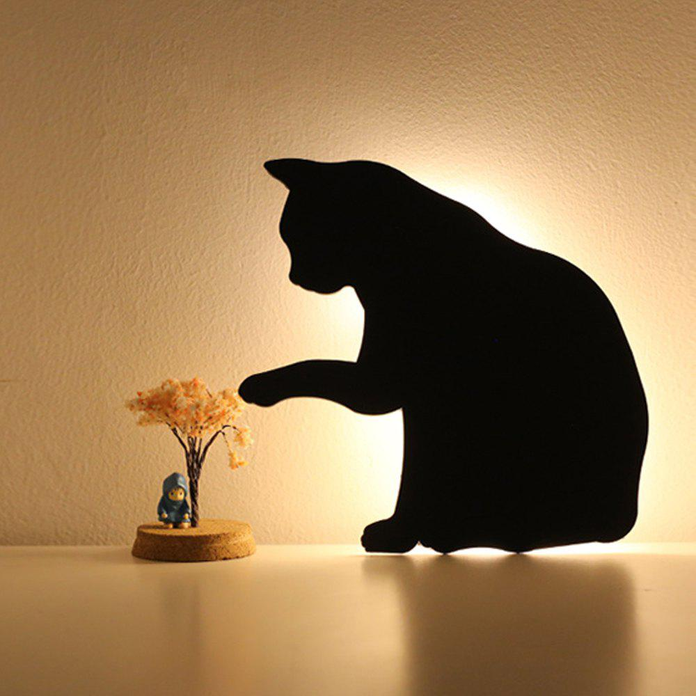 Shops Optically Controlled Sound Control  Lick Hair Cat Night Light Shadow LED Projection Lamp