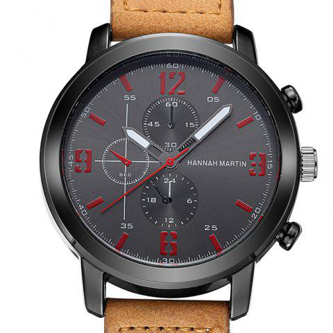 Fashion Men Leather Band Casual Fashion Wrist Quartz Watch for Dressing