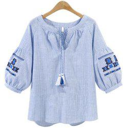 Plus Size Lantern Sleeve Tassel Round Collar Shirt -