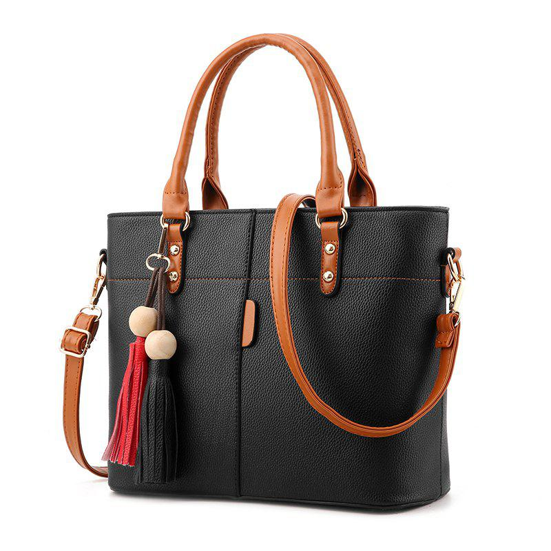 Discount Women's Handbag Sweet Tassel Pendent Solid Elegant Zipper Bag