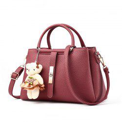 Women's Handbag Fresh Style Cute Solid Color Bear Pendant Bag -