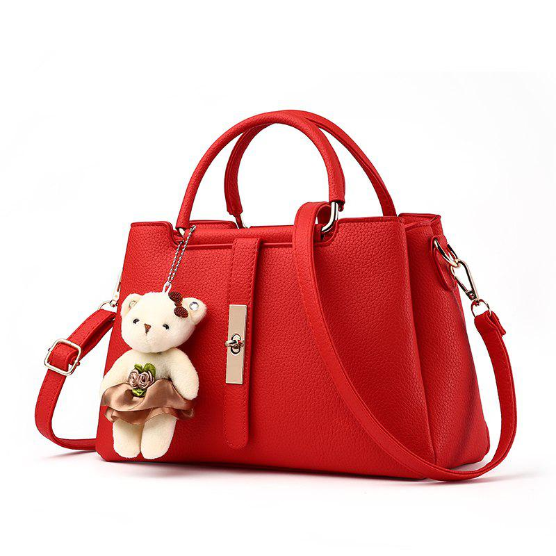 Buy Women's Handbag Fresh Style Cute Solid Color Bear Pendant Bag