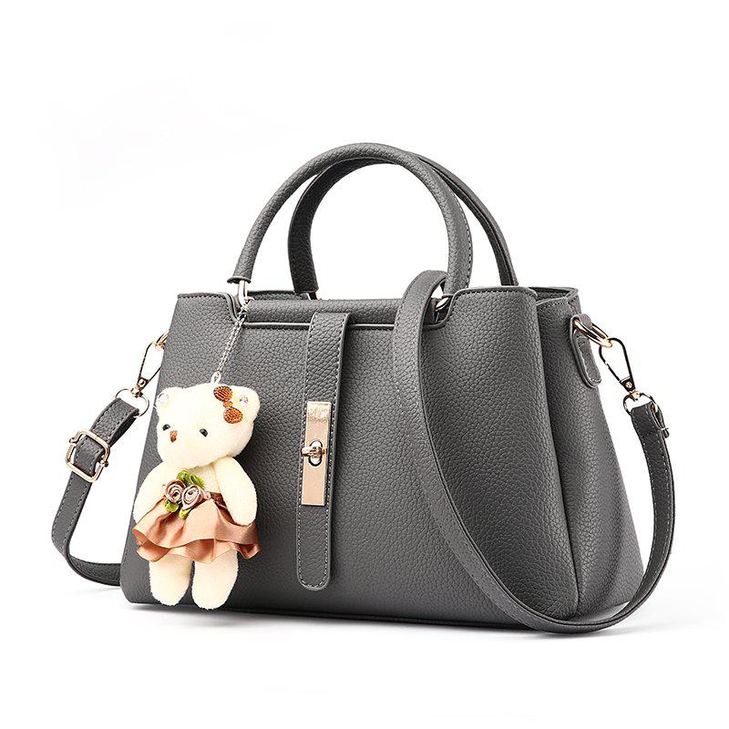 Best Women's Handbag Fresh Style Cute Solid Color Bear Pendant Bag