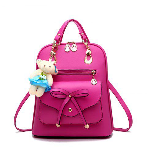 Online Women's Backpack Adorable Bowknot Bear Pendant Casual Durable School Bag