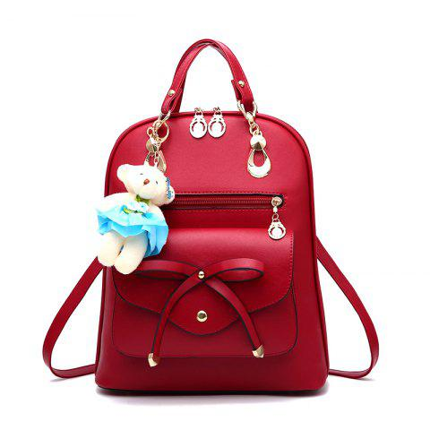 Latest Women's Backpack Adorable Bowknot Bear Pendant Casual Durable School Bag
