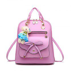 Women's Backpack Adorable Bowknot Bear Pendant Casual Durable School Bag -
