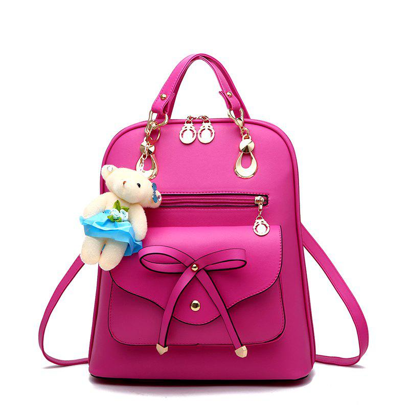 Women s Backpack Adorable Bowknot Bear Pendant