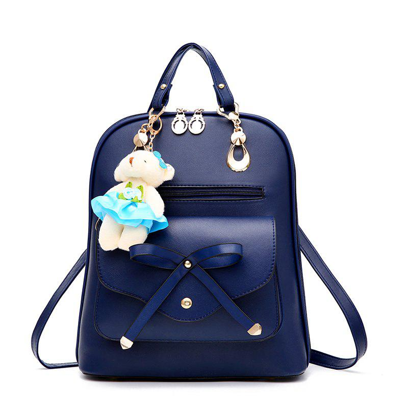 Fancy Women's Backpack Adorable Bowknot Bear Pendant Casual Durable School Bag