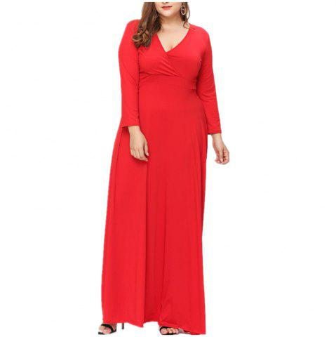 Shops New Big Size V Collar Long Sleeved Dress