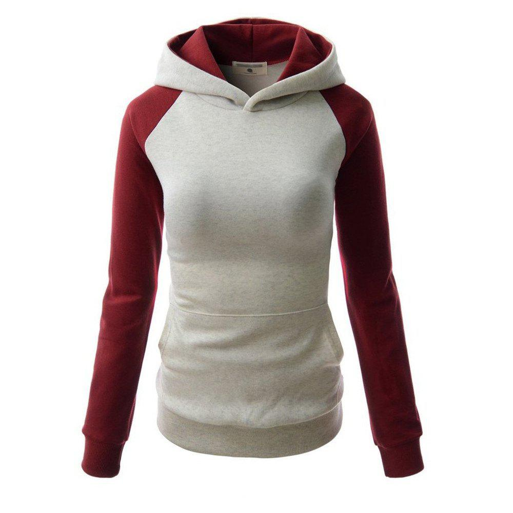 Chic Fashion Hit Color Pocket Hoodie