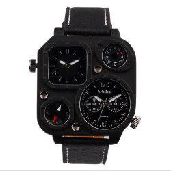 Male Fashion Compass Thermometer in Two Places Quartz Watch -
