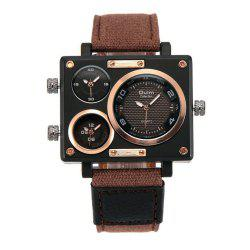 Square Canvas Wrist Watch in Multi Time Foreign Trade Area -