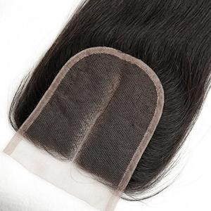 Brazilian Remy Human Hair Silky Straight Middle Part Lace Closure Bleached Knots Swiss Lace 12 inch -