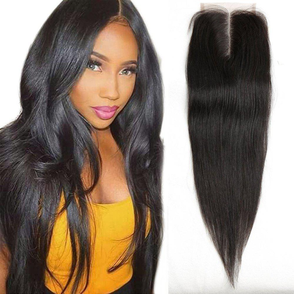 Affordable Middle Part Lace Closure Straight Brazilian Virgin Hair Natural Black 14 inch