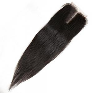 4 x 4 Middle Part Brazilian Straight Top Closure Unprocessed Human Hair Bleached Knots -
