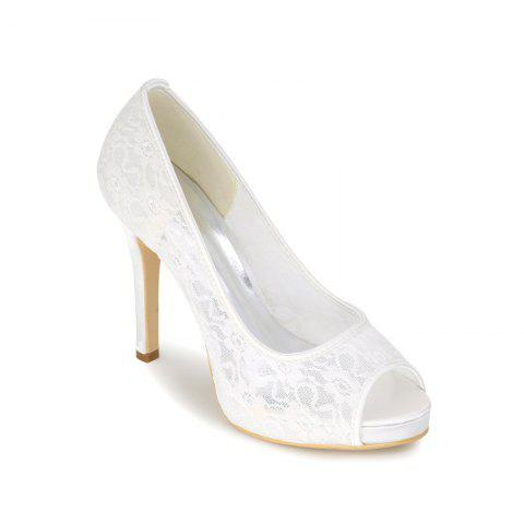 New High Heel Waterproof Lace Fish Mouth Wedding Shoes