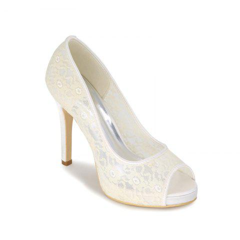 Buy High Heel Waterproof Lace Fish Mouth Wedding Shoes