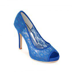 High Heel Waterproof Lace Fish Mouth Wedding Shoes -