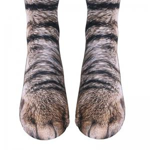 Animal Paw Print Crew Socks Simulating Cat Dog Dinosaur Novel Gifts for Adult -