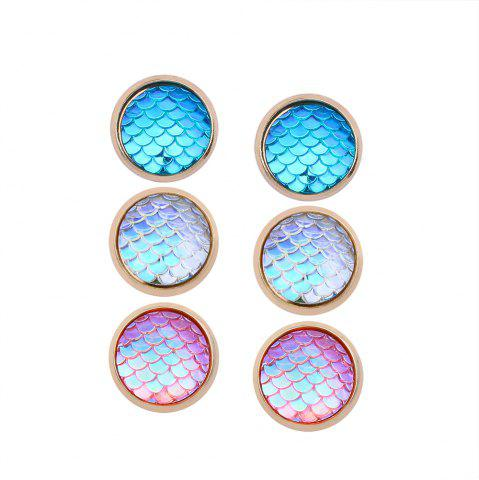 New Geometric Fish Scales Resin Simple Street Three Pair of Earrings